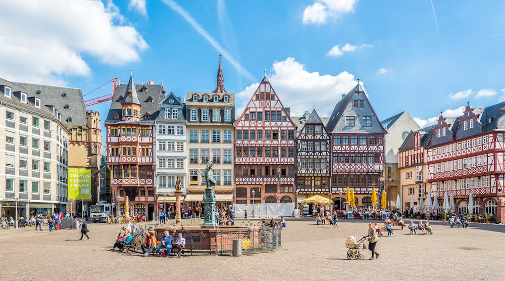 FRANKFURT AM MAIN ,GERMANY - - View at the timbered houses at the Romerberg in Frankfurt am Main. Frankfurt is the major financial centre of the European continent.