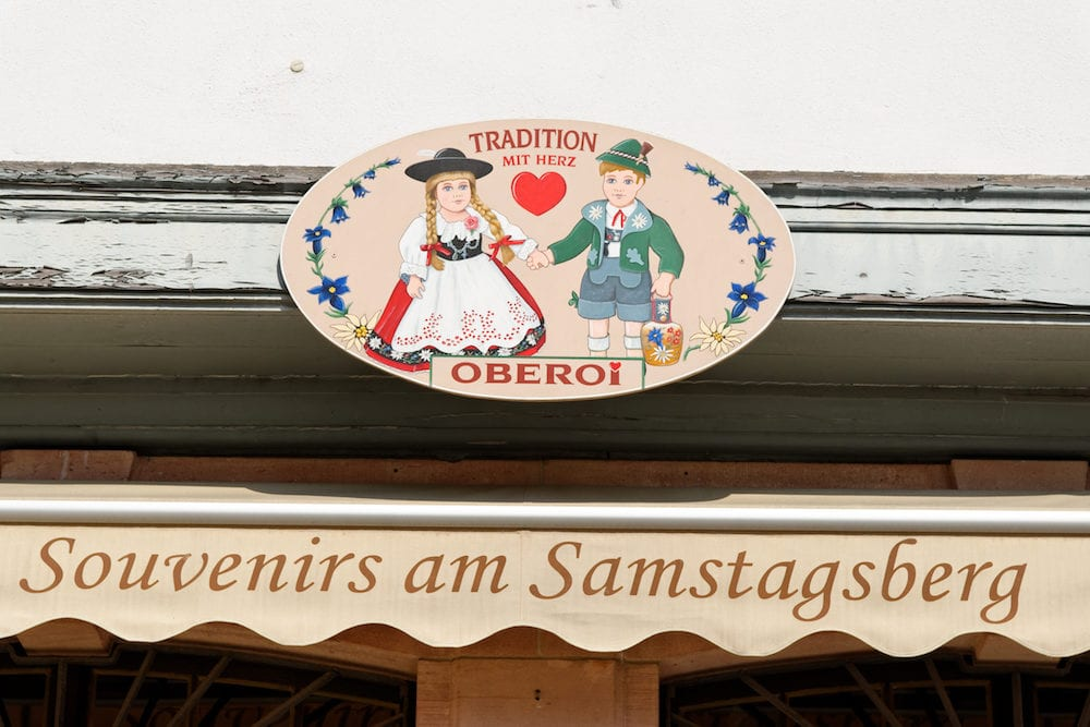 FRANKFURT AM MAIN GERMANY Sovenir shop sign on Romerberg square (Roman Mountain) the historic heart of the city and the centre of the old town.