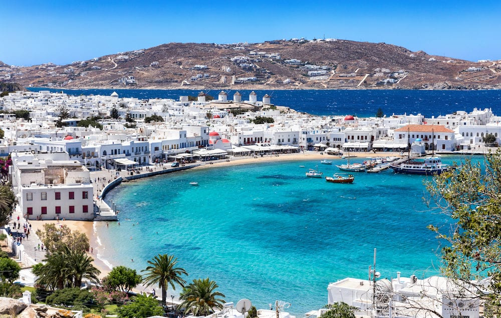 Panoramic view over the town and old harbor of Mykonos, Cyclades, Greece
