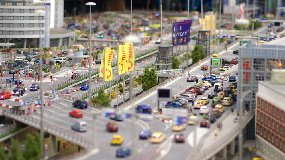 HAMBURG, GERMANY - Flughafen Wunderland. Up to 40 different aircrafts, from Cessna to Airbus A 380, are taxing independently on Knufingen Airport at Miniatur Wunderland Museum to the gates.