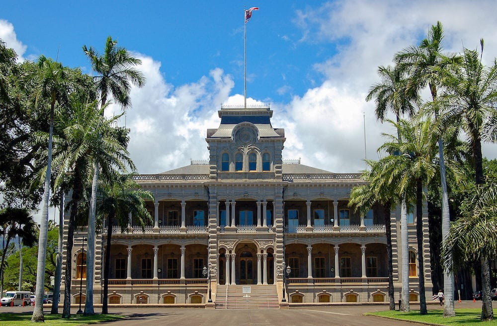 The facade of the Iolani Palace, the royal residence of the late rulers of the Kingdom of Hawaii - Honolulu, USA,