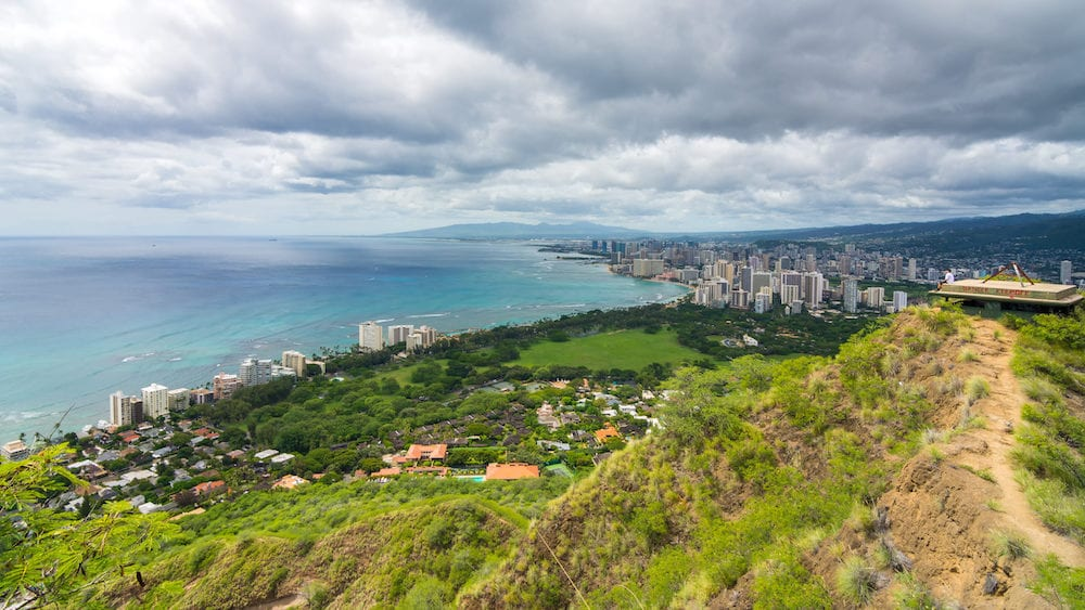 Panoramic view from diamond head monument state viewpoint, Oahu, Hawaii, Usa