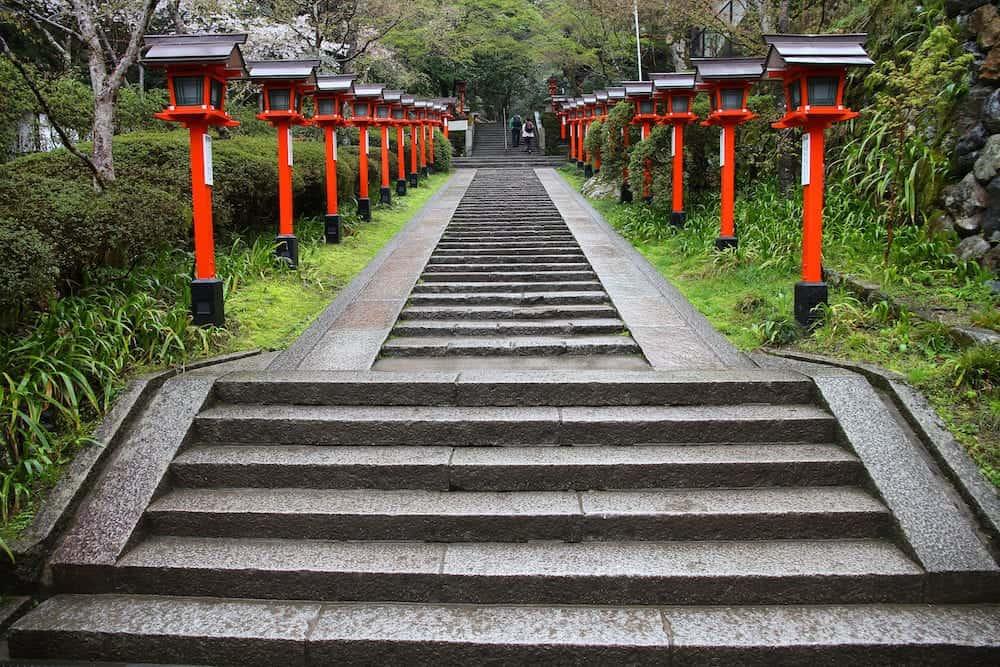 Kurama Temple stairs in Kyoto Japan. Buddhist place of worship.