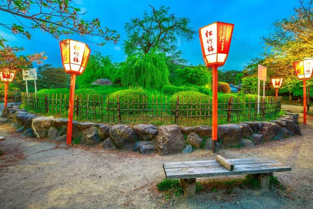 Kyoto, Japan - japanese lantern around large shidarezakura or weeping cherry tree at dusk. Maruyama Park, the Kyoto's most famous cherry-blossom viewing hanami spot. Spring season.