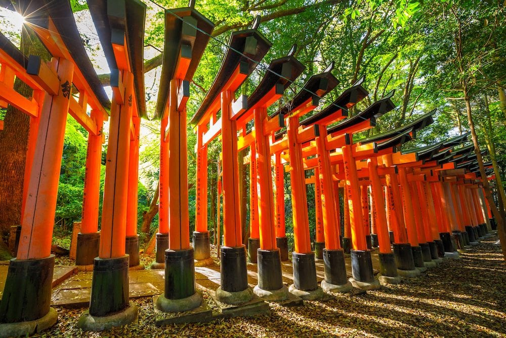 Kyoto, Japan - Red Torii gates at Fushimi Inari taisha lining the paths on the hill on which the shrine is located. Fushimi Inari is the most important shinto sanctuary.