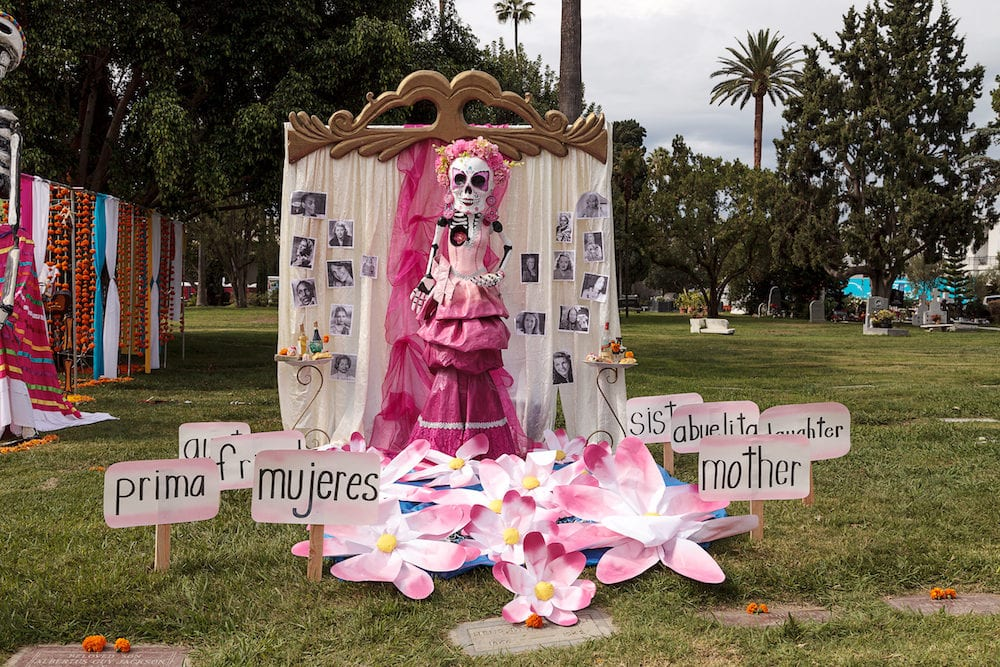 Los Angeles, CA, USA - : Flower and skeleton alter at Dia de los Muertos, Day of the dead, in Los Angeles at the Hollywood Forever Cemetery grounds.