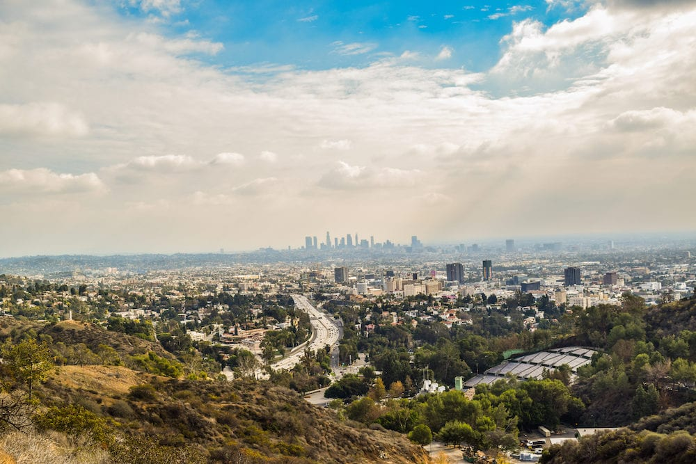 Los Angeles, CA, USA . View of the los angele. Good sunny day in downtown Los Angeles, California. Aerial view of Los angeles city from Runyon Canyon park Mountain View