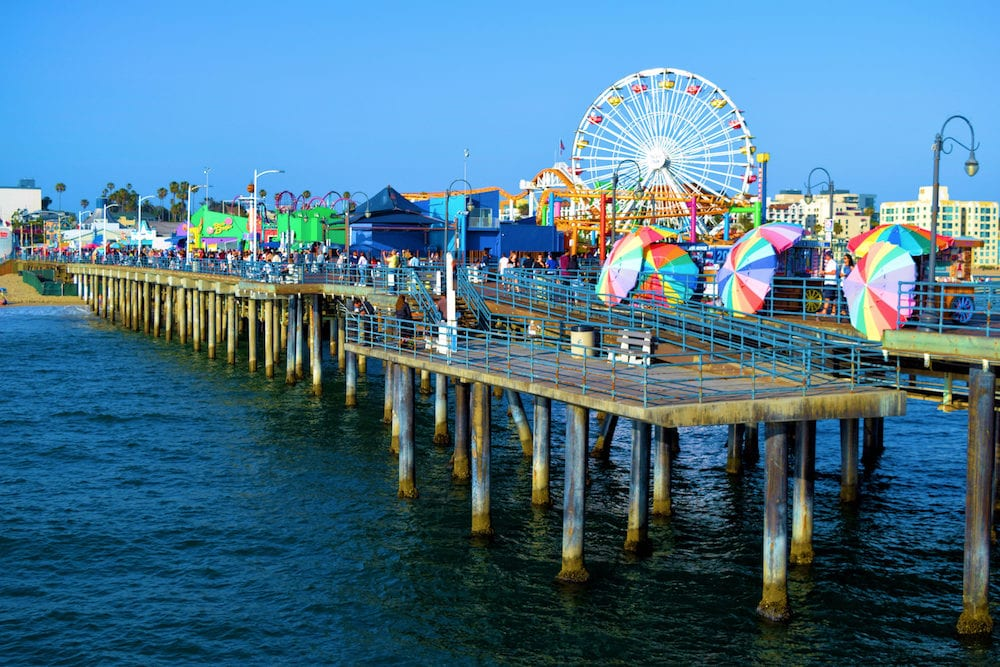 in Santa Monica, CA: Restaurants, retail stores, and an Amusement Park on the historical Santa Monica Pier built in 1909 where the public can overlook the Pacific Ocean and enjoy recreational activities taken in Santa Monica, CA