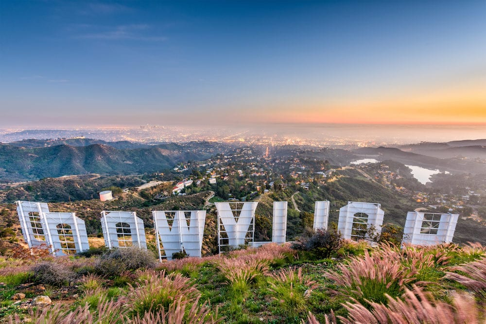 LOS ANGELES, CALIFORNIA - The Hollywood sign overlooking Los Angeles. The iconic sign was originally created in 1923.