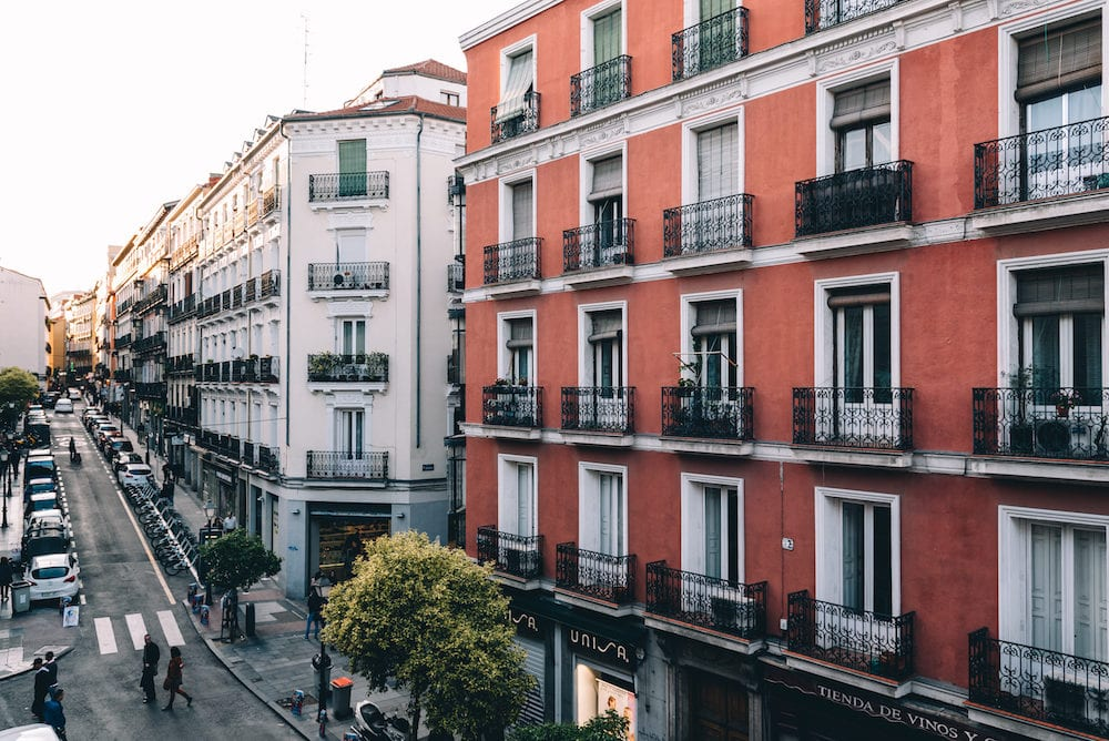 Madrid, Spain - High angle view of buildings in Chueca district in centre of Madrid. Augusto Figueroa Street