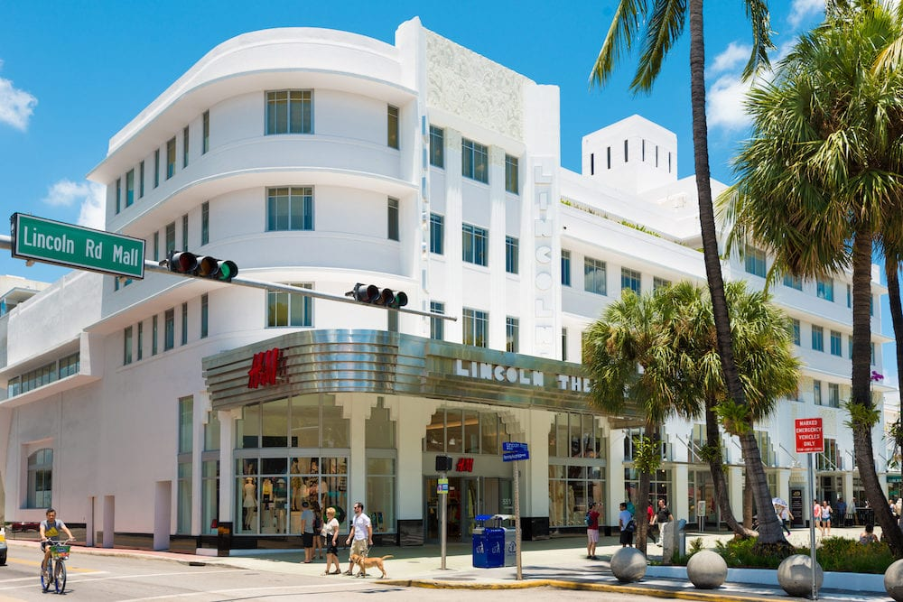 MIAMI,USA - View of the Lincoln Road Boulevard in South Beach near the former Lincoln Theater