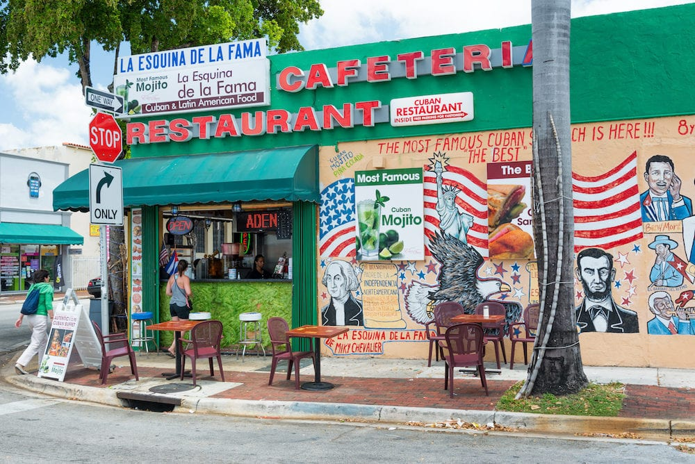 MIAMI,USA : Typical cuban restaurant serving mojitos in Little Havana, Miami