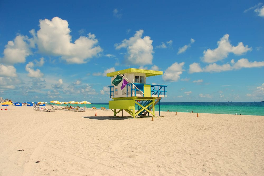 Colorful lifeguard tower in Miami Beach Florida