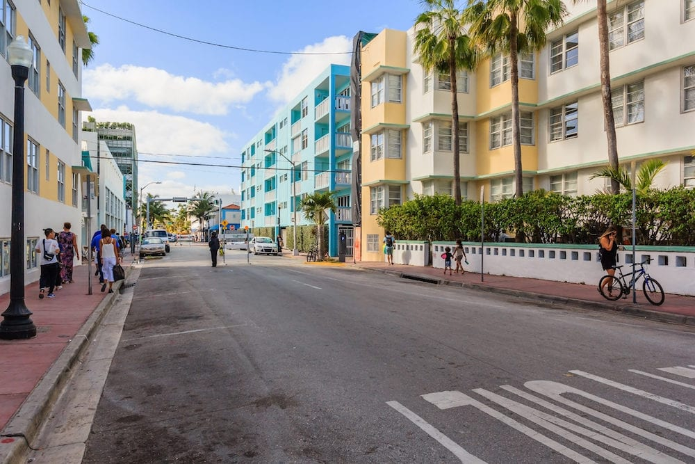 MIAMI FLORIDA - View along Ocean Drive along South Beach Miami in the historic Art Deco District with hotels restaurant and bar