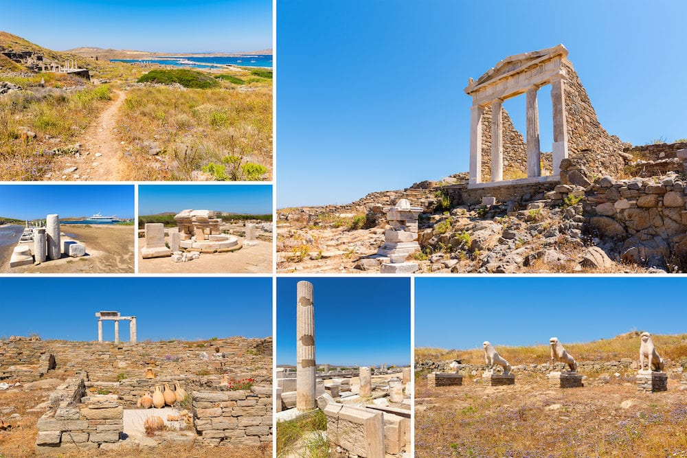 Collage of images from Delos island. The most big archaeological site of Cyclades archipelago. Greece.