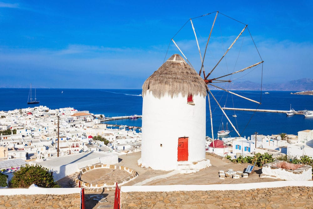 Boni or Bonis Windmill at the Folklore Agricultural Museum in Mykonos Town Island of Mykonos Cyclades Islands in Greece.