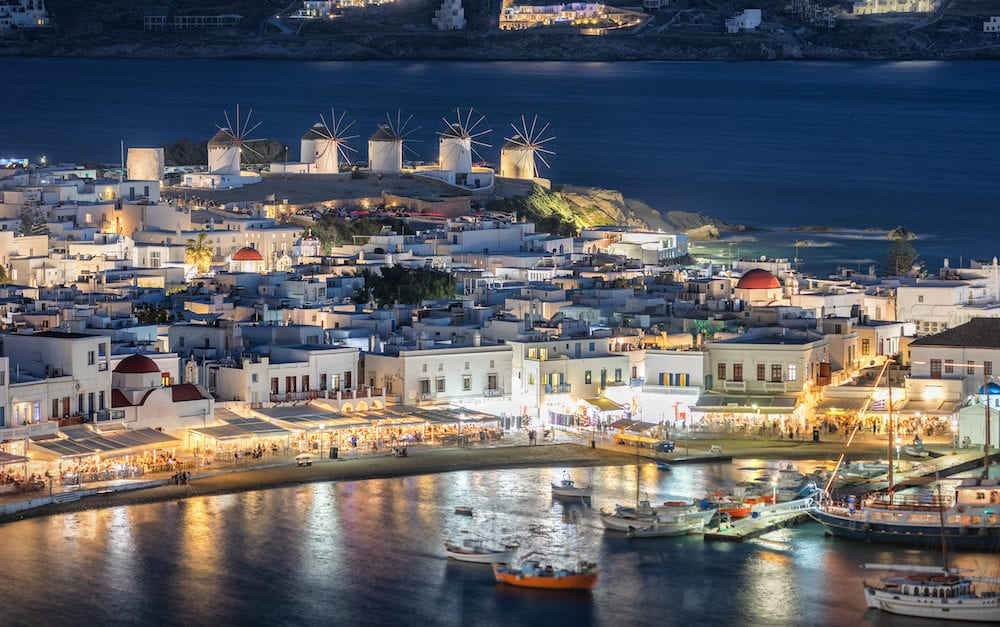 View over the town of Mykonos island in Greece after sunset