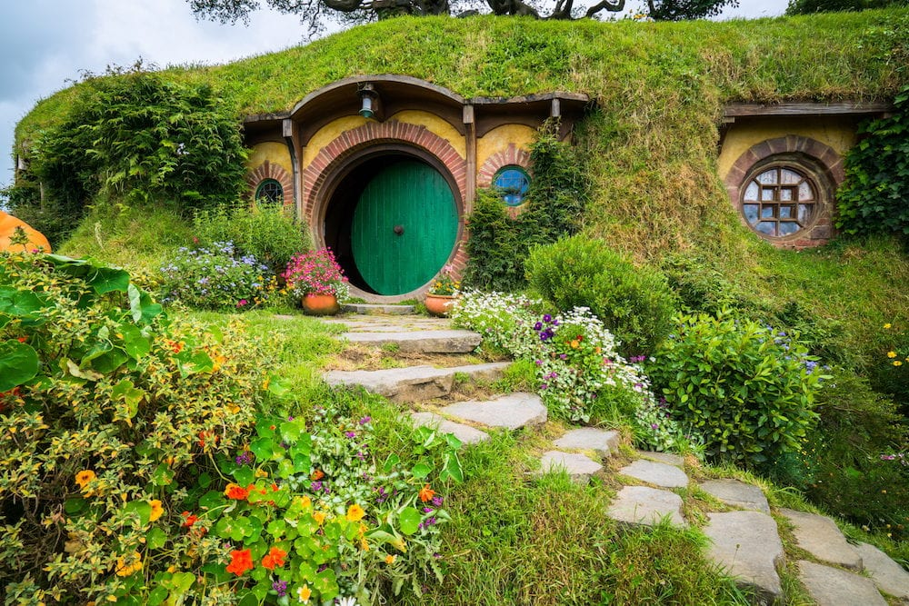 Matamata New Zealand : Hobbiton movie set created for filming The Lord of the Rings and The Hobbit movies in North Island of New Zealand. It is opened for tourist who visit New Zealand.
