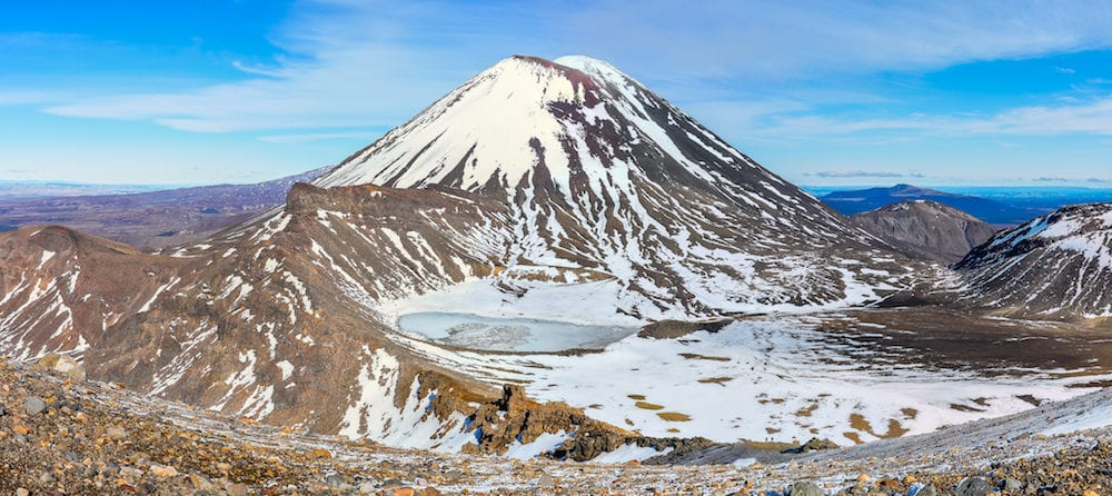 Mount Doom and the South Crater in the winter Tongariro Alpine Crossing New Zealand