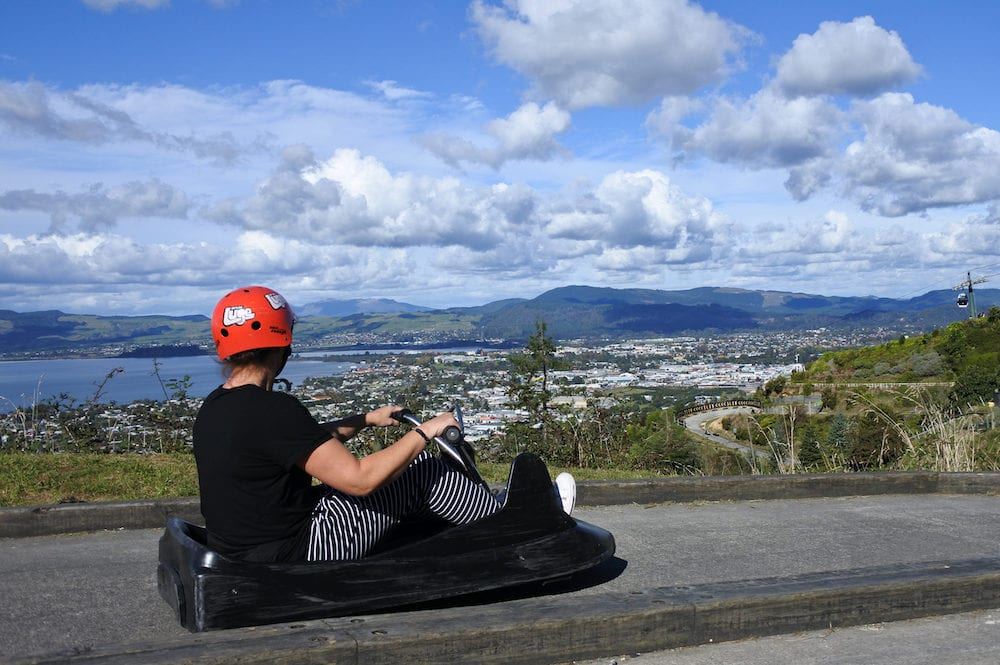 ROTORUA NZL Man ride on Skyline Rotorua Luge. Skyline Luge is a gravity fuelled fun ride. Invented in New Zealand in 1985 and having hosted over 30 million rides worldwide.