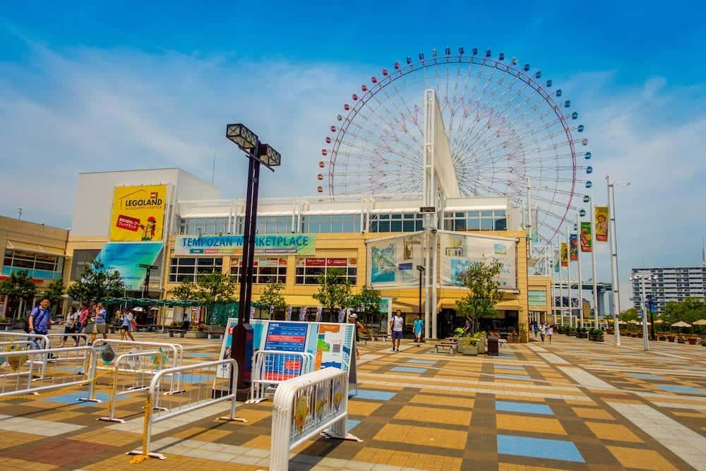 OSAKA, JAPAN - Close up frame trust of Tempozan Ferris Wheel in Osaka, Japan. It is located in Tempozan Harbor Village, next to Osaka Aquarium Kaiyukan.
