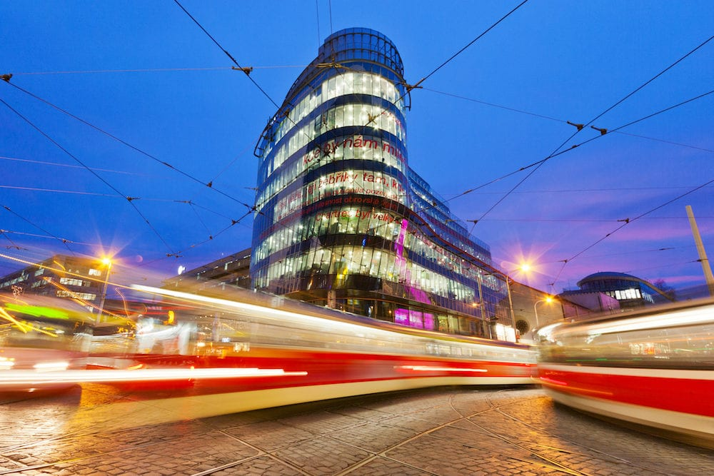 PRAGUE, CZECH REPUBLI C: modern shopping and offices center Andel, Smichov district in Prague, Czech republic. Architect Jean Nouvel designed office building called Golden Angel here.