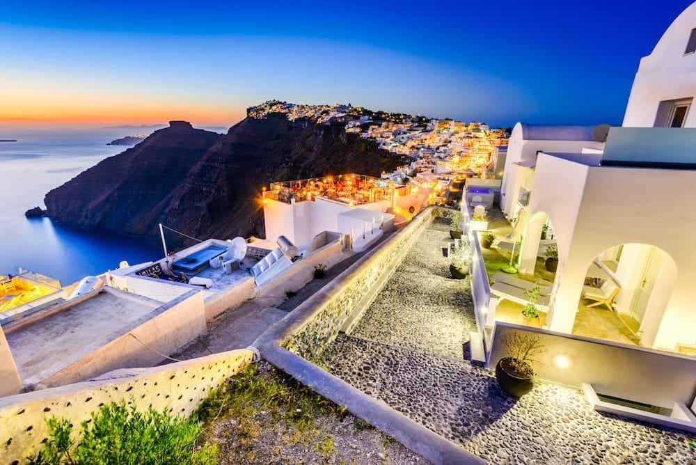 Santorini, Greece. Firostefani twilight, old village in Thira island, Cyclades at Aegean Sea.
