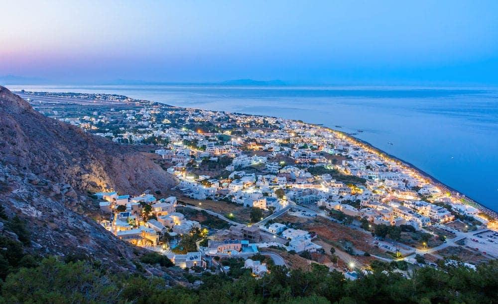 Evening lights of Kamari village Santorini island