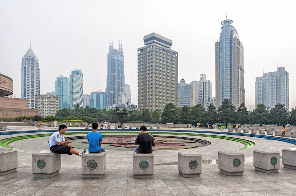 Shanghai, China - View of People's Square adjacent to Nanjing Road in the Huangpu District of Shanghai, China. Is the site of Shanghai's municipal government headquarter building.