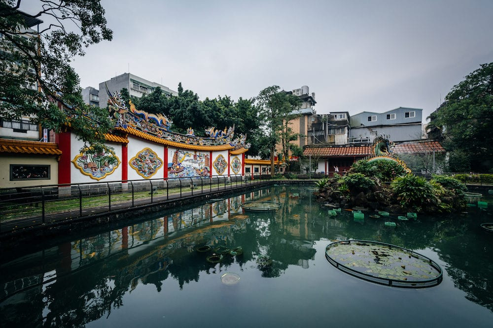 Small pond at a park in the Datong District in Taipei Taiwan.