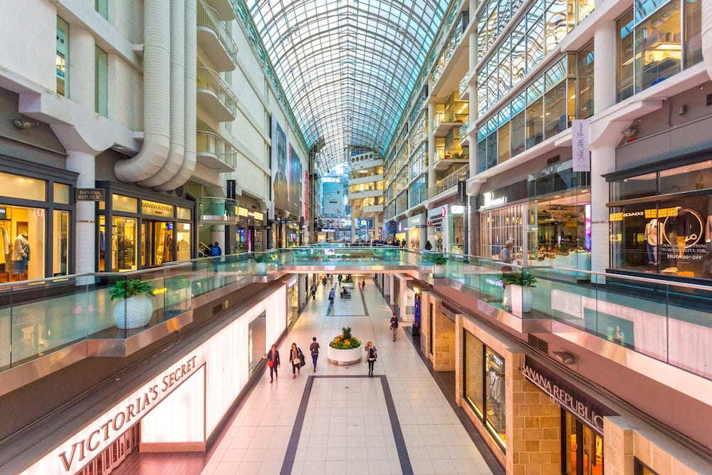 Toronto Canada - Interior of the Eaton Centre mall in the city of Toronto Canada