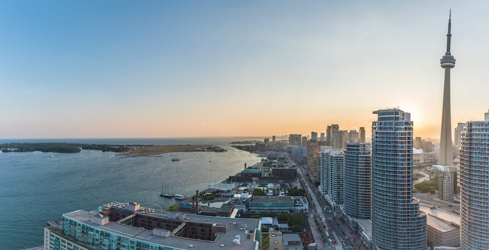 Panoramic view of Toronto Harbourfront on sunset. Toronto Ontario Canada