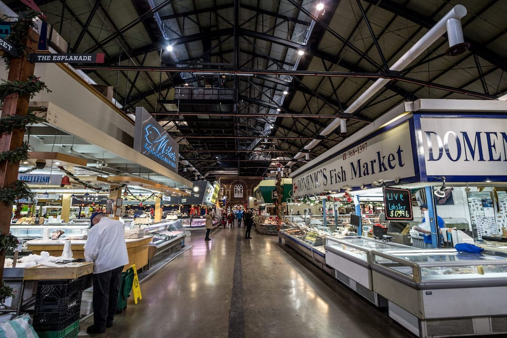 TORONTO, CANADA - Interior of St Lawrence market with fish market stalls in the early morning. Saint Lawrence market is one of the main landmarks of Toronto