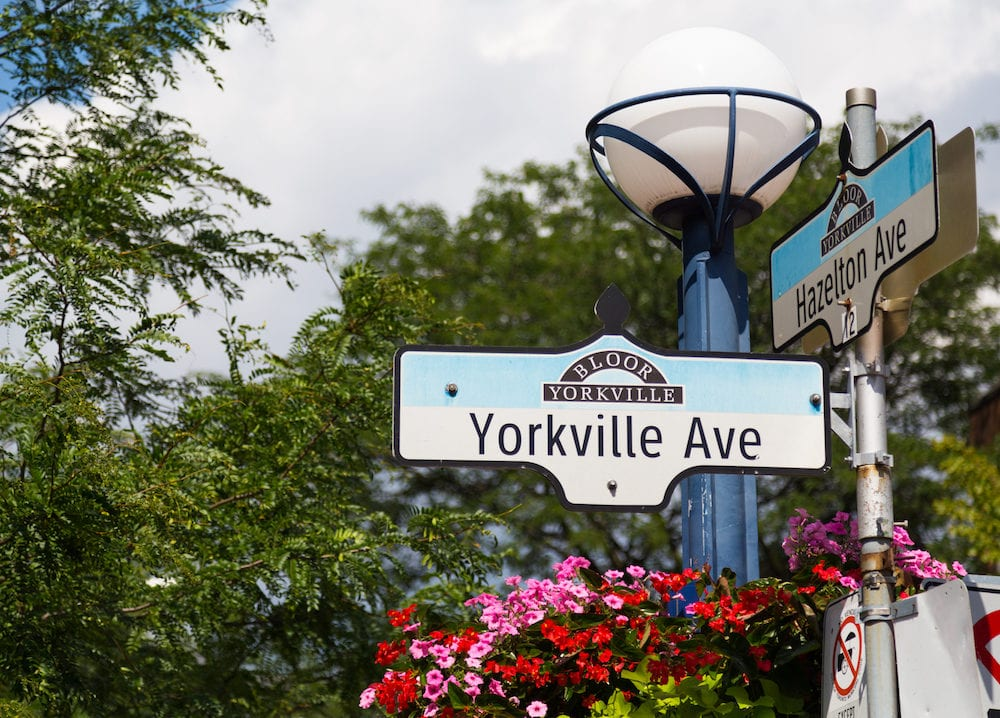 TORONTO CANADA - A sign for Yorkville Avenue in Toronto during the day