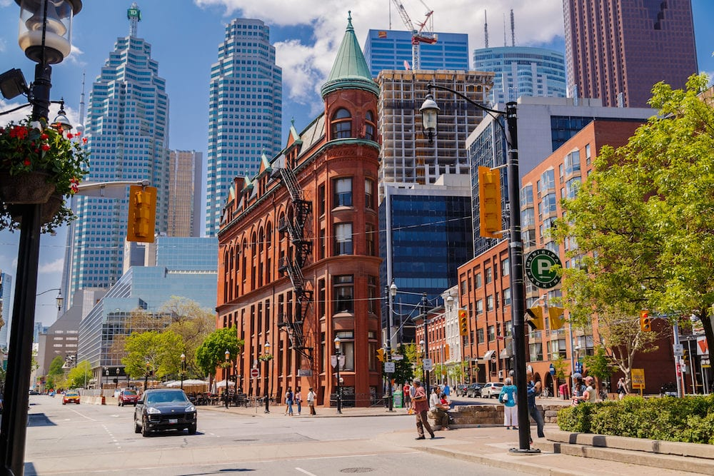 Toronto city, Ontario, Canada, down town, beautiful inviting Toronto city landscape view with old vintage classic buildings and people in background