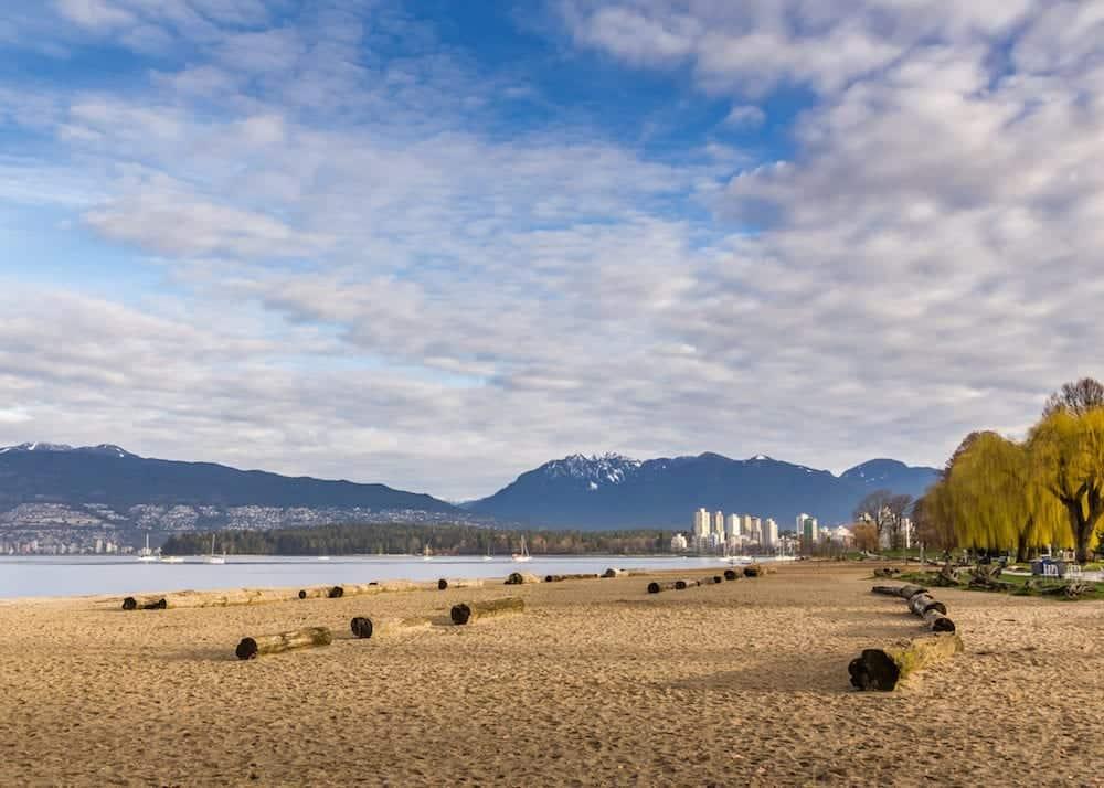 Kitsilano beach skyline in Vancouver BC Canada