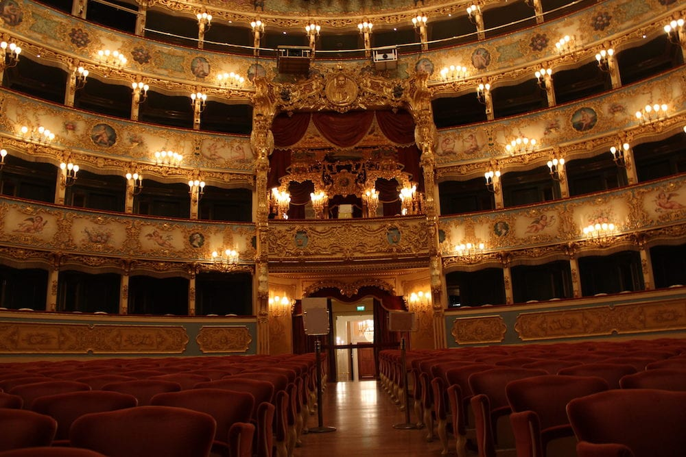 "VENICE, ITALY - Interior of La Fenice Theatre. Teatro La Fenice ""The Phoenix"" is an opera house one of the most famous and renowned landmarks in the history of Italian theatre."