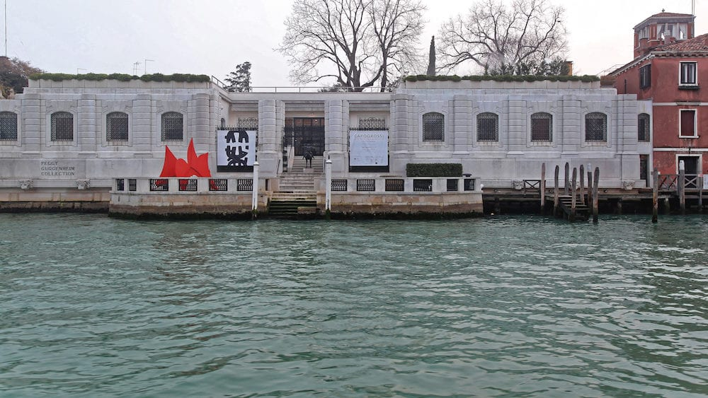 VENICE ITALY Peggy Guggenheim Modern Art Museum at Grand Canal in Venice Italy.