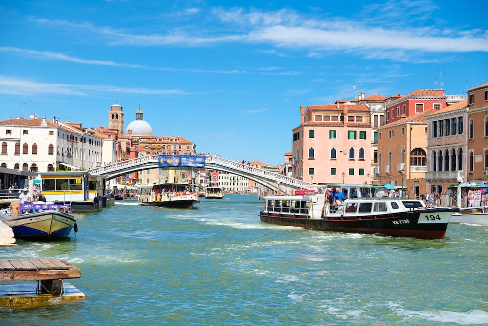 VENICE,ITALY - : Vaporetti at the Grand Canal in Venice on a summer day
