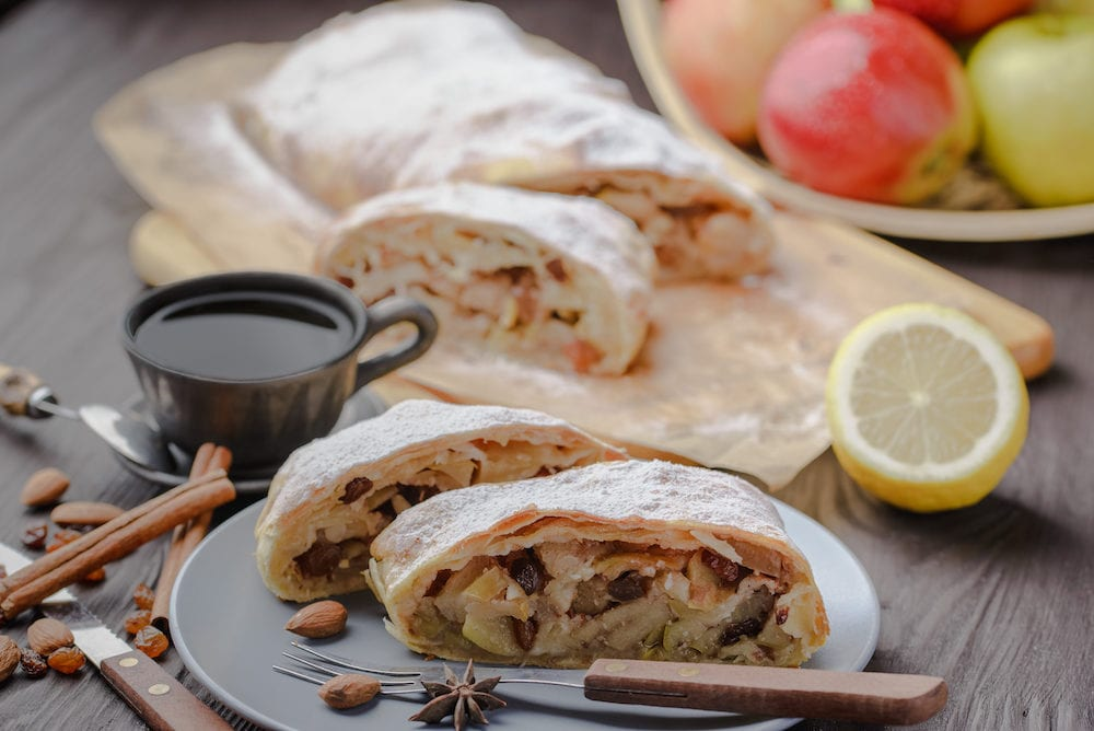 German strudel with apples,strudel with almonds and apples and raisins,home-made strudel,homemade baking,traditional strudel