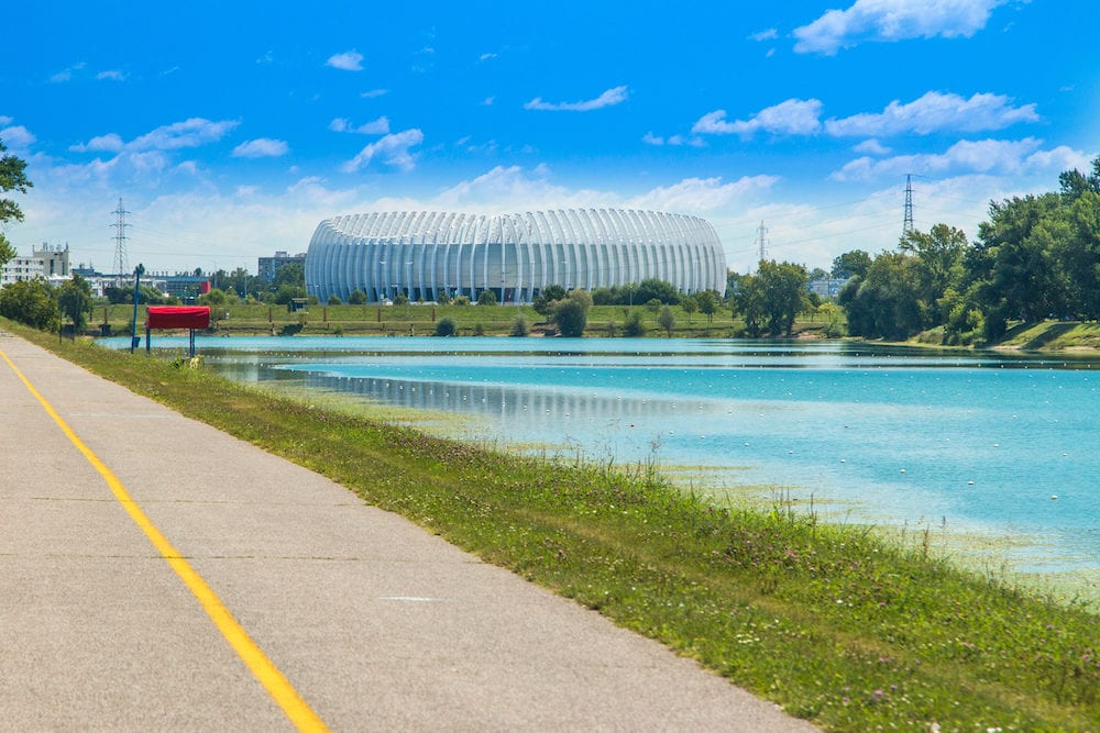 Jarun lake in Zagreb, Croatia, sunny summer day, Zagreb arena in background