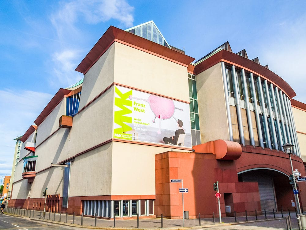 FRANKFURT AM MAIN GERMANY - The Museum fuer Moderne Kunst (Museum of Modern Art) designed by Viennese architect Hans Hollein in 1982 is the newest art gallery in town