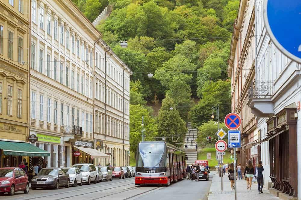 PRAGUE, CZECH REPUBLIC -High-tech trams Skoda on a wide street in the district Nove Mesto Prague's old town, Prague, Czech Republic