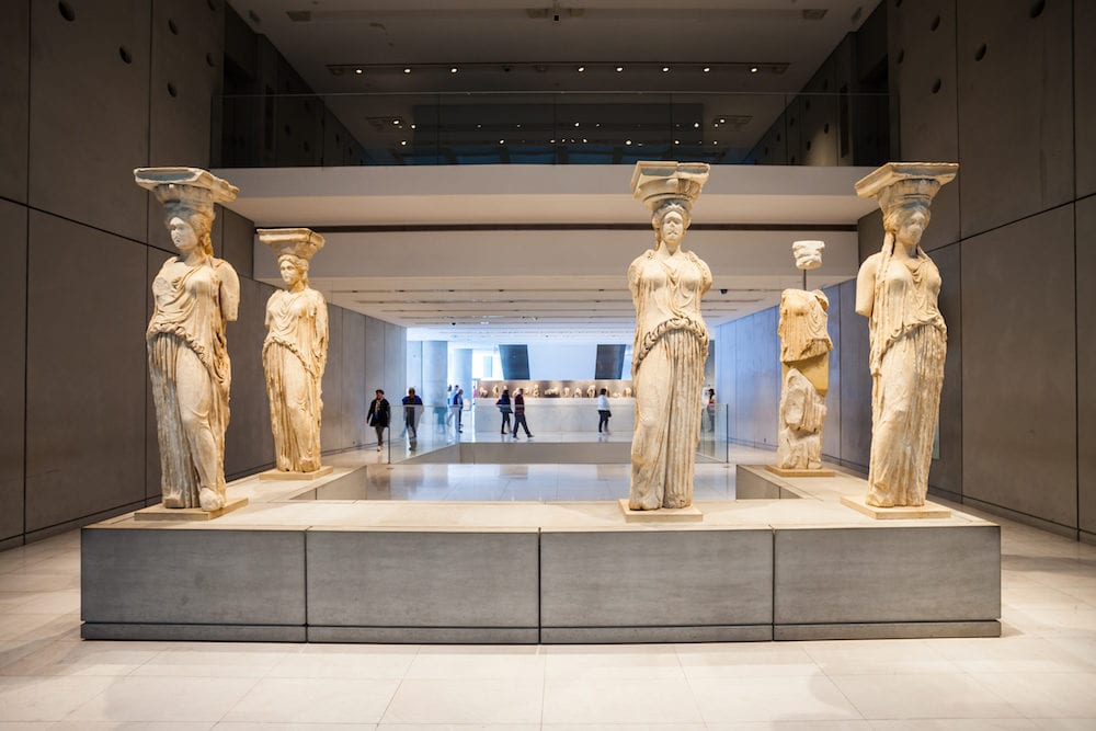 ATHENS GREECE - : The Acropolis Museum is an archaeological museum focused on the findings of the archaeological site of the Acropolis of Athens in Greece.