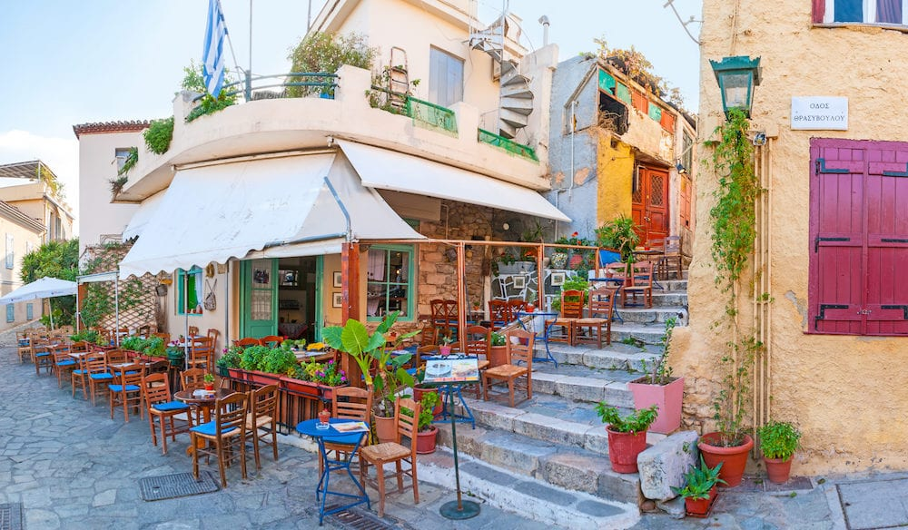 ATHENS GREECE - Cafe Klepsidras is one of the most popular cafes in Plaka in Athens