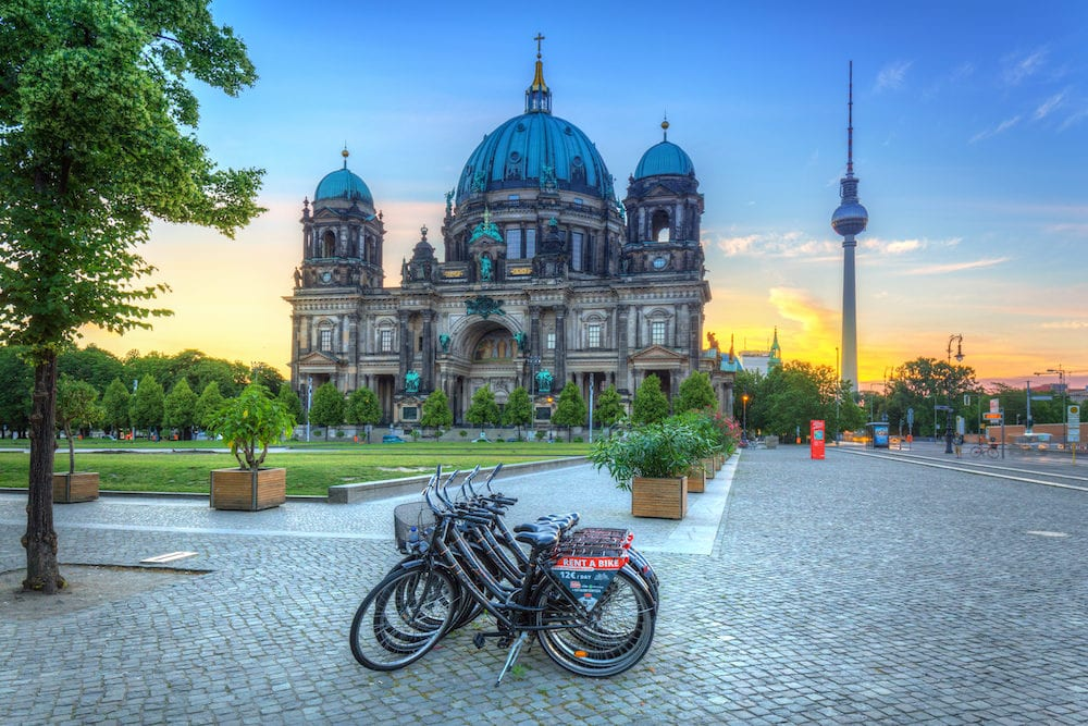 BERLIN, GERMANY - Berlin Cathedral (Berliner Dom) and TV Tower at sunrise, Germany. Berlin is the capital and the largest city of Germany.