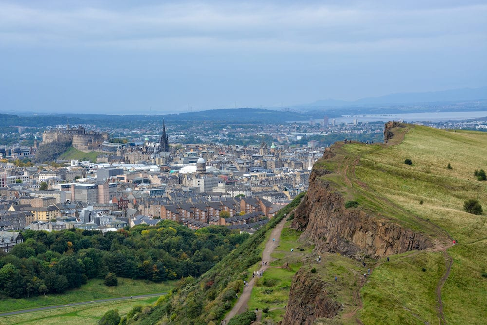 The Hollyrood park and Arthur's Seat with a view on Edinburgh Scotland
