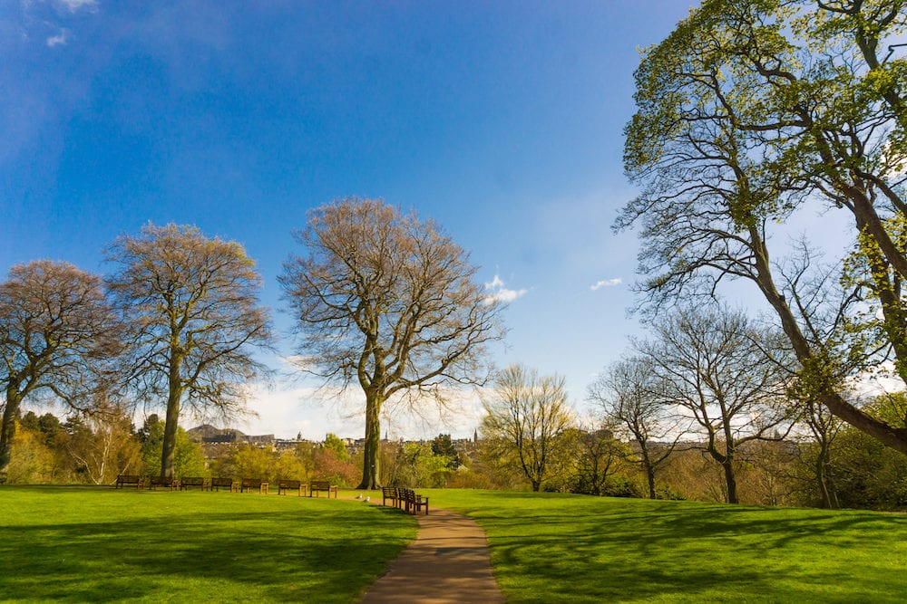Royal Botanic Garden park center of Edinburgh city Scotland