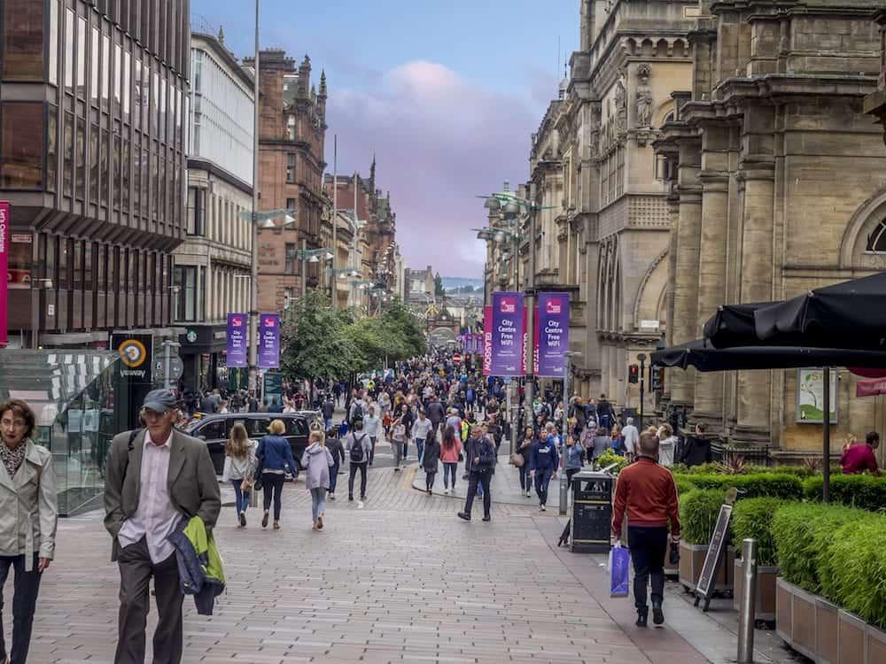 GLASGOW, SCOTLAND - Buchanan Street in Glasgow, Scotland. Buchanan Street is the main shopping district in Scotland and has many fine restaurants and shops.