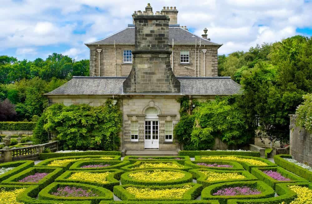 Formal garden at Pollok house in Pollok Country Park Glasgow Scotland UK